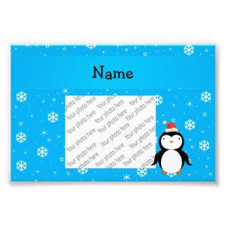 Personalized name santa penguin blue snowflakes photograph