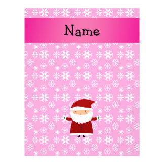 Personalized name santa pink snowflakes 21.5 cm x 28 cm flyer