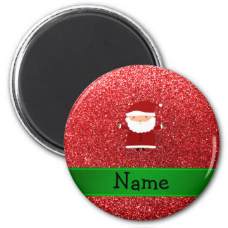 Personalized name santa red glitter 6 cm round magnet