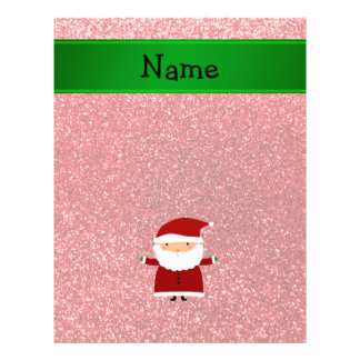 Personalized name santa red glitter 21.5 cm x 28 cm flyer