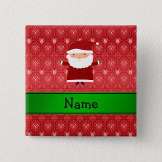 Personalized name santa red snowman trellis 15 cm square badge