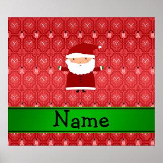 Personalized name santa red snowman trellis posters
