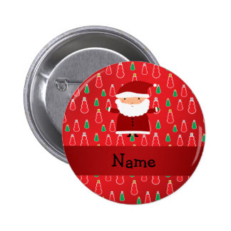 Personalized name santa red snowmen 6 cm round badge