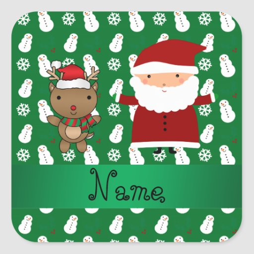 Personalized name santa reindeer green snowman square sticker