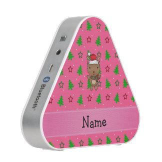 Personalized name santa reindeer pink trees bluetooth speaker