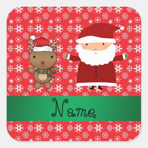 Personalized name santa reindeer red snowflakes sticker