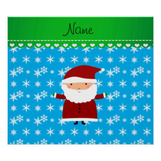 Personalized name santa sky blue snowflakes posters