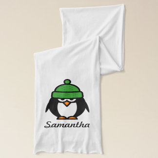 Personalized name scarf with funny penguin cartoon