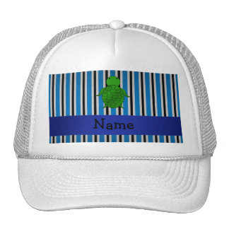 Personalized name sea turtle blue stripes mesh hat