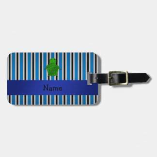 Personalized name sea turtle blue stripes luggage tag