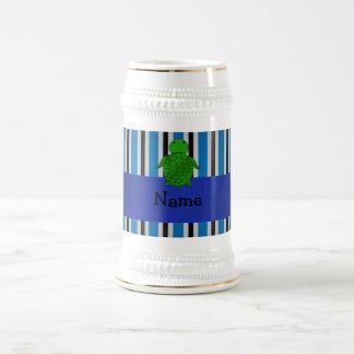 Personalized name sea turtle blue stripes mug