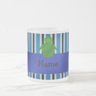 Personalized name sea turtle blue stripes coffee mug