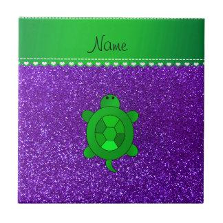Personalized name sea turtle indigo purple glitter tile
