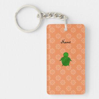 Personalized name sea turtle orange flowers Double-Sided rectangular acrylic key ring