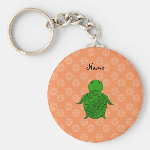 Personalized name sea turtle orange flowers keychains