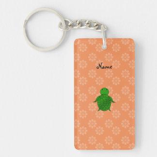 Personalized name sea turtle orange flowers rectangle acrylic key chain