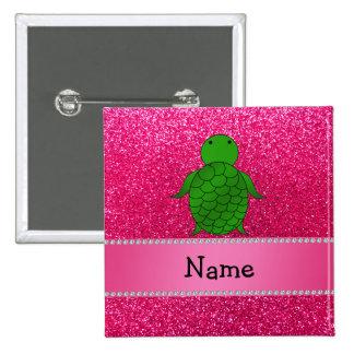 Personalized name sea turtle pink glitter 15 cm square badge