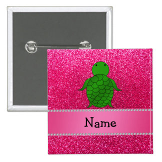 Personalized name sea turtle pink glitter pinback buttons