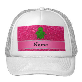 Personalized name sea turtle pink glitter trucker hat