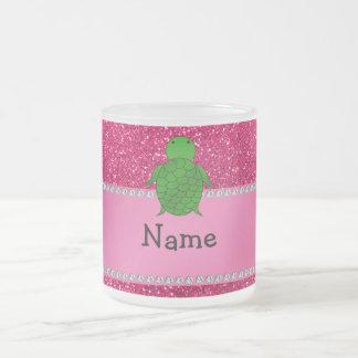 Personalized name sea turtle pink glitter mug