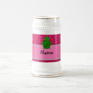 Personalized name sea turtle pink glitter mugs