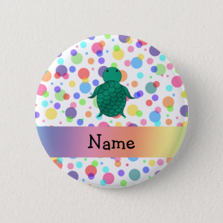 Personalized name sea turtle rainbow polka dots 6 cm round badge