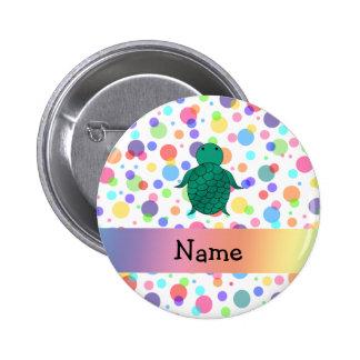 Personalized name sea turtle rainbow polka dots 6 cm round badge