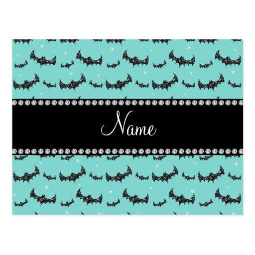Personalized name seafoam green glitter bats postcards