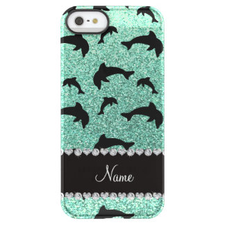 Personalized name seafoam green glitter dolphins permafrost® iPhone SE/5/5s case