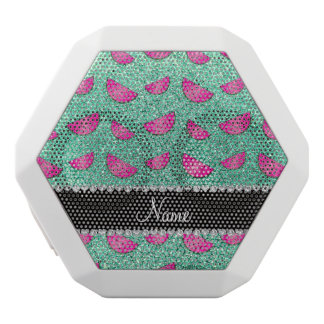 Personalized name seafoam green glitter watermelon white boombot rex bluetooth speaker