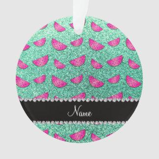 Personalized name seafoam green glitter watermelon ornament