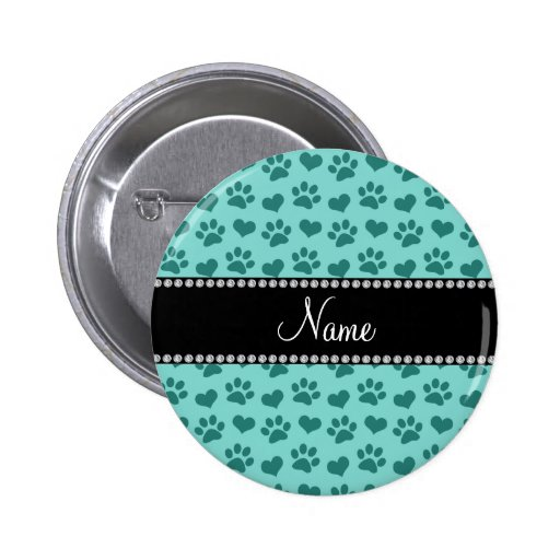 Personalized name seafoam green hearts and paws pin
