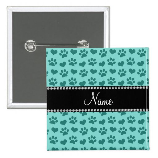 Personalized name seafoam green hearts and paws pinback button