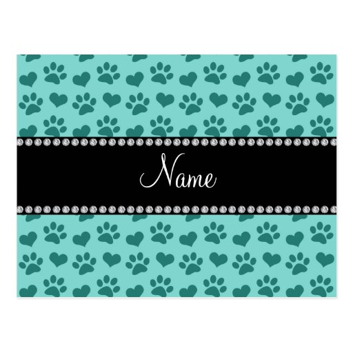 Personalized name seafoam green hearts and paws post cards