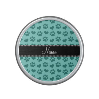 Personalized name seafoam green hearts and paws speaker