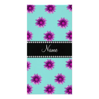 Personalized name seafoam green purple pink flower photo cards