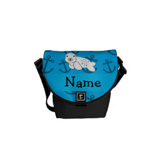 Personalized name seal blue anchors pattern commuter bags