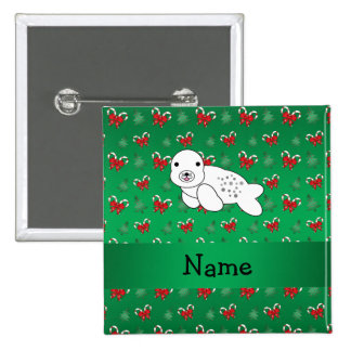 Personalized name seal green candy canes bows 15 cm square badge