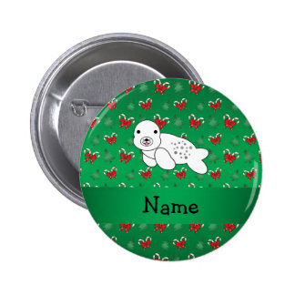 Personalized name seal green candy canes bows 6 cm round badge