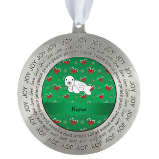 Personalized name seal green candy canes bows round ornament