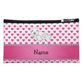 Personalized name seal pink hearts polka dots makeup bag
