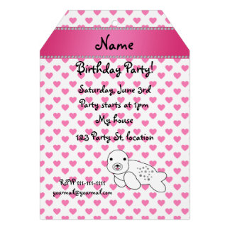 Personalized name seal pink hearts polka dots personalized invite