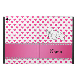 Personalized name seal pink hearts polka dots iPad air cover