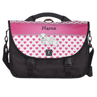 Personalized name seal pink hearts polka dots bag for laptop