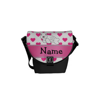 Personalized name seal pink hearts polka dots messenger bags