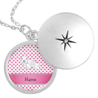 Personalized name seal pink hearts polka dots custom jewelry