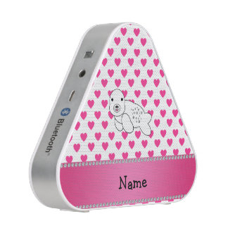 Personalized name seal pink hearts polka dots speaker