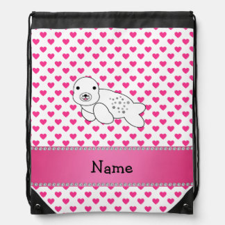 Personalized name seal pink hearts polka dots backpacks