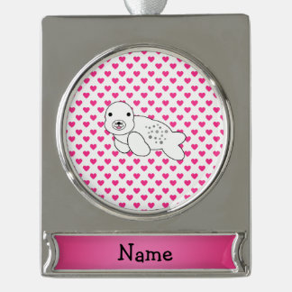 Personalized name seal pink hearts polka dots silver plated banner ornament