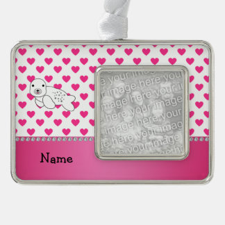 Personalized name seal pink hearts polka dots silver plated framed ornament